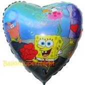 Spongebob Herzluftballon aus Folie, ungefüllt