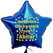 Herzlichen Glückwunsch zum Abitur, Stern-Luftballon aus Folie mit Helium Ballongas