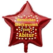 Herzlichen Glückwunsch zum Abitur, roter Stern-Luftballon aus Folie mit Helium Ballongas