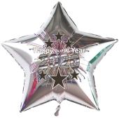 Sternluftballon in Silber aus Folie zu Silvester und Neujahr, Happy New Year, Silvesterdeko 2020