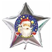 Sternballon mit Weihnachtsmann im Sternenhimmel Happy Christmas