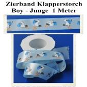 Deko-Zierband, Stoff-Schmuckband, Klapperstorch, Hellblau-Blau, Junge, Boy, 1 Meter zu Geburt und Taufe