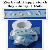 Deko-Zierband, Stoff-Schmuckband, Klapperstorch, Hellblau-Blau, Junge, Boy, 1 Rolle zu Geburt und Taufe