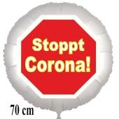 Stoppt Corona! Luftballon, Stoppschild, aus Folie, 70 cm, mit Ballongas