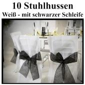 Stuhlhussen, Weiß, mit schwarzer Schleife, 10 Stück