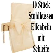 Stuhlhussen, Elfenbein, mit Schleife, 10 Stück