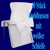 Stuhlhussen, Weiß, mit weißer Schleife, 10 Stück
