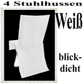 Stuhlhussen, Weiß, blickdicht, 4 Stück