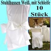 Stuhlhussen, Weiß, mit Schleife, 10 Stück