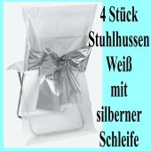 Stuhlhussen, Weiß, mit silberner Schleife, 4 Stück