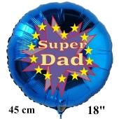 Rundluftballon zum Vatertag. Super Dad. Blau, 45 cm inklusive Ballongas Helium
