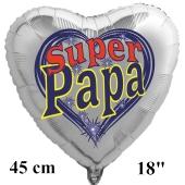 Herzluftballon zum Vatertag. Super Papa. Silber, 45 cm inklusive Ballongas Helium
