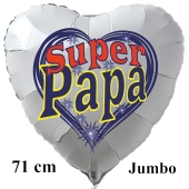 Herzluftballon zum Vatertag. Super Papa. Weiß, 71 cm inklusive Ballongas Helium