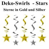 Swirls Deko-Wirbler Sterne in Gold und Silber