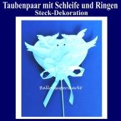 Taubenpaar-mit-Schleife-und-Ringen-Steckdekoration-Hochzeit