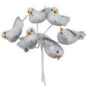 Silberhochzeit Taubenpaare auf Draht Glitzer, silber