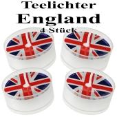 Union Jack Teelichter, England-Partydekoration