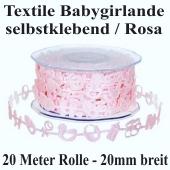 Textile Babygirlande, Baby Girl, 20 Meter Rolle, 20mm breit, Rosa, selbstklebend