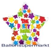 Großer Stern-Luftballon aus Folie mit Helium: The Party is here!