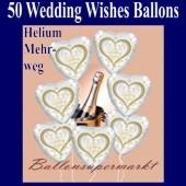 50 Luftballons aus Folie, Hochzeit, Wedding Wishes mit dem Helium-Mehrweg-Behälter