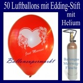 Just Married Luftballons, Glückwünsche - Namen eintragen, 50 Luftballons mit Heliumflasche