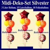 Midi-Ballons-Helium-Set-Silvester, Silvester-Luftballons Happy New Year, Silvesterdekoration