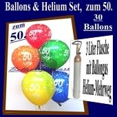 Zum 50. Geburtstag, 30 Luftballons mit Helium / inkl. Rückporto