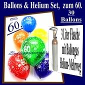 Zum 60. Geburtstag, 30 Luftballons mit Helium / inkl. Rückporto