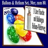 Zum 80. Geburtstag, 30 Luftballons mit Helium / inkl. Rückporto