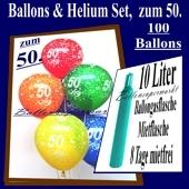 Ballons und Helium Set zum 50. Geburtstag, 100 Luftballons, Zahl 50, mit 10 Liter Helium-Ballongas zur Ballondekoration auf der Geburtstagsparty