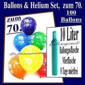 Zum 70. Geburtstag, 100 Luftballons mit Helium / inkl. Versand und Abholung