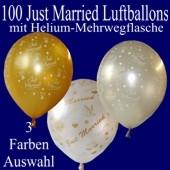 Just Married Luftballons, 100 Hochzeitsballons mit Heliumflasche
