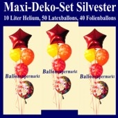 Maxi-Ballons-Helium-Set-Silvester, Silvester-Luftballons Happy New Year, Silvesterdekoration