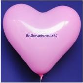 Herzluftballon, 40-45 cm, Rosa, 1 Stück