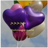 Herzluftballon, 40-45 cm, Violett Metallic, 1 Stück