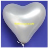 Herzluftballon, 40-45 cm, Silber, 1 Stück