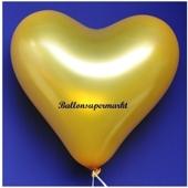 Herzluftballon, 40-45 cm, Gold-Metallic, 1 Stück