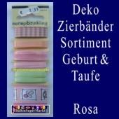 Deko-Zierbänder-Sortiment, Geburt und Taufe, Rosa
