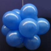 Ballonkugeln mit Luftballons, Latex 30cm Ø, 75 Stück / Blau