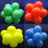 Ballonkugel mit Luftballons, Latex 30cm Ø, 75 Stück / Bunt