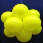 Ballonkugel mit Luftballons, Latex 30cm Ø, 75 Stück / Gelb