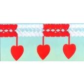 Girlande mit Herzen / Rot-Weiß / 20x45cm