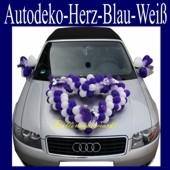 Autodeko Hochzeit, Dekoration Herzen aus Mini-Luftballons in Blau-Weiß