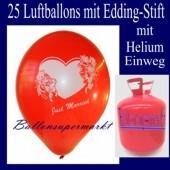 Just Married Luftballons, Glückwünsche - Namen eintragen, 25 Luftballons mit Helium-Einwegflasche