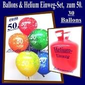 Helium- Einwegbehälter mit 30 Luftballons zum 50. Geburtstag