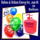Helium- Einwegbehälter mit 30 Luftballons zum 60. Geburtstag