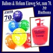 Helium- Einwegbehälter mit 30 Luftballons zum 70. Geburtstag