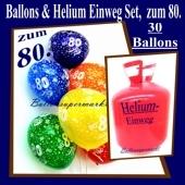 Helium- Einwegbehälter mit 30 Luftballons zum 80. Geburtstag