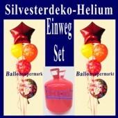 Ballons-Einweg-Helium-Set-Silvester, Silvester-Luftballons Happy New Year, Silvesterdekoration