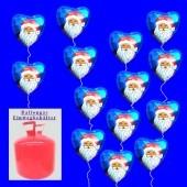 Helium-Einweg-Behälter mit 20 Weihnachtsballons Nikolaus, blau